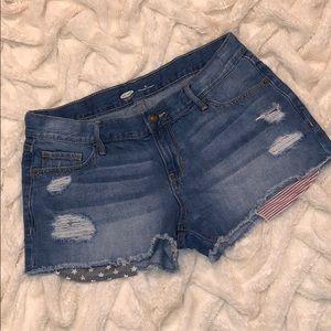 Old Navy Distressed Denim Shorts detailed pockets